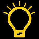 Ampoule jaune et logo