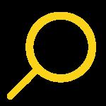 Loupe jaune et logo