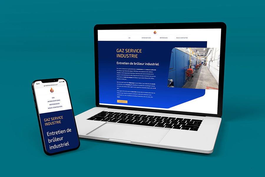 Ordinateur et téléphone portable avec site internet GSI
