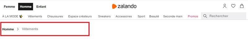 Site internet Zalando avec fil d'Ariane et menu principal