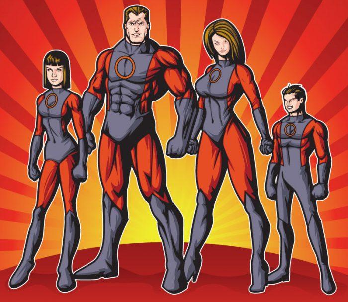 Famille super héros, équipe agence web